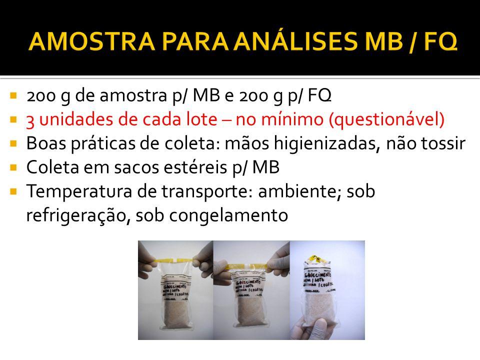 200 g de amostra p/ MB e 200 g p/ FQ 3 unidades de cada lote – no mínimo (questionável) Boas práticas de coleta: mãos higienizadas, não tossir Coleta