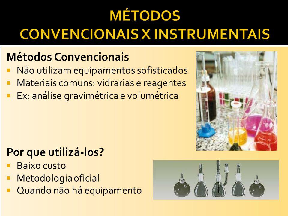 Métodos Convencionais Não utilizam equipamentos sofisticados Materiais comuns: vidrarias e reagentes Ex: análise gravimétrica e volumétrica Por que ut