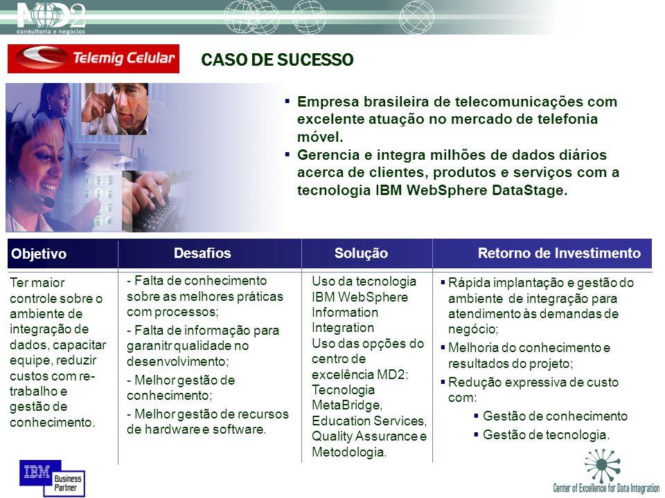 Empresa brasileira de telecomunicações com excelente atuação no mercado de telefonia móvel. Gerencia e integra milhões de dados diários acerca de clie