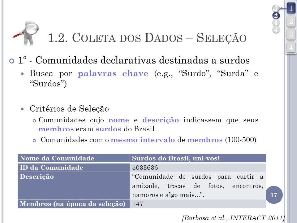 1.2. C OLETA DOS D ADOS – S ELEÇÃO 1º - Comunidades declarativas destinadas a surdos Busca por palavras chave (e.g., Surdo, Surda e Surdos) Critérios