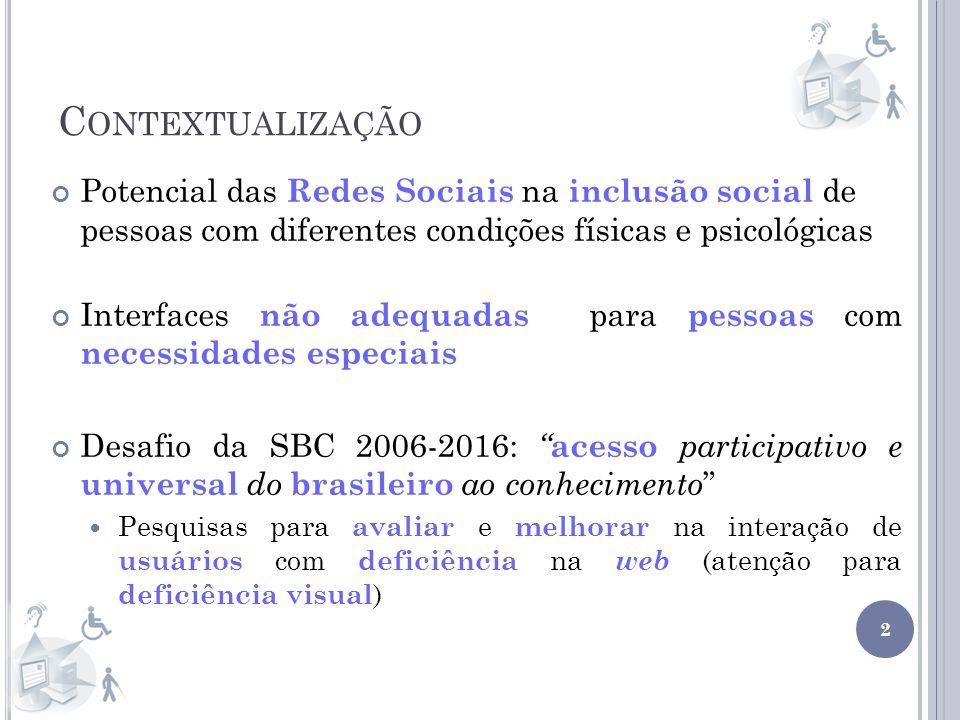 C ONTEXTUALIZAÇÃO 2 Potencial das Redes Sociais na inclusão social de pessoas com diferentes condições físicas e psicológicas Interfaces não adequadas