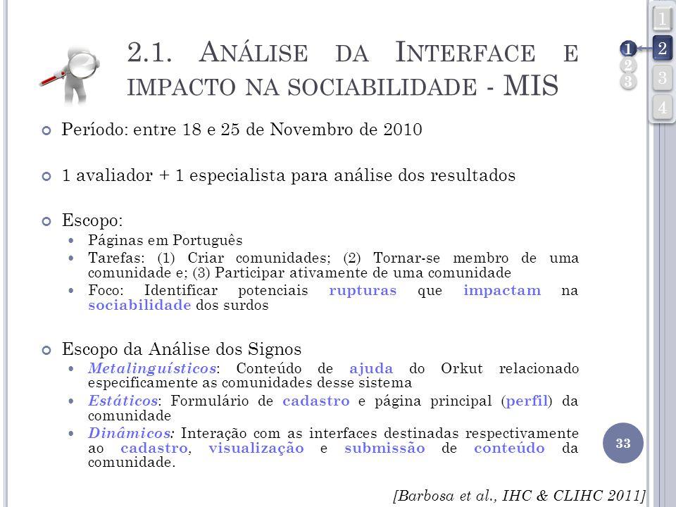 2.1. A NÁLISE DA I NTERFACE E IMPACTO NA SOCIABILIDADE - MIS Período: entre 18 e 25 de Novembro de 2010 1 avaliador + 1 especialista para análise dos