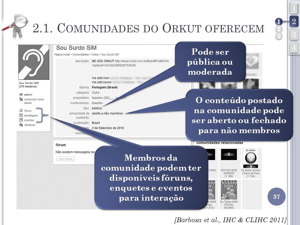 Pode ser pública ou moderada Membros da comunidade podem ter disponíveis fóruns, enquetes e eventos para interação O conteúdo postado na comunidade po