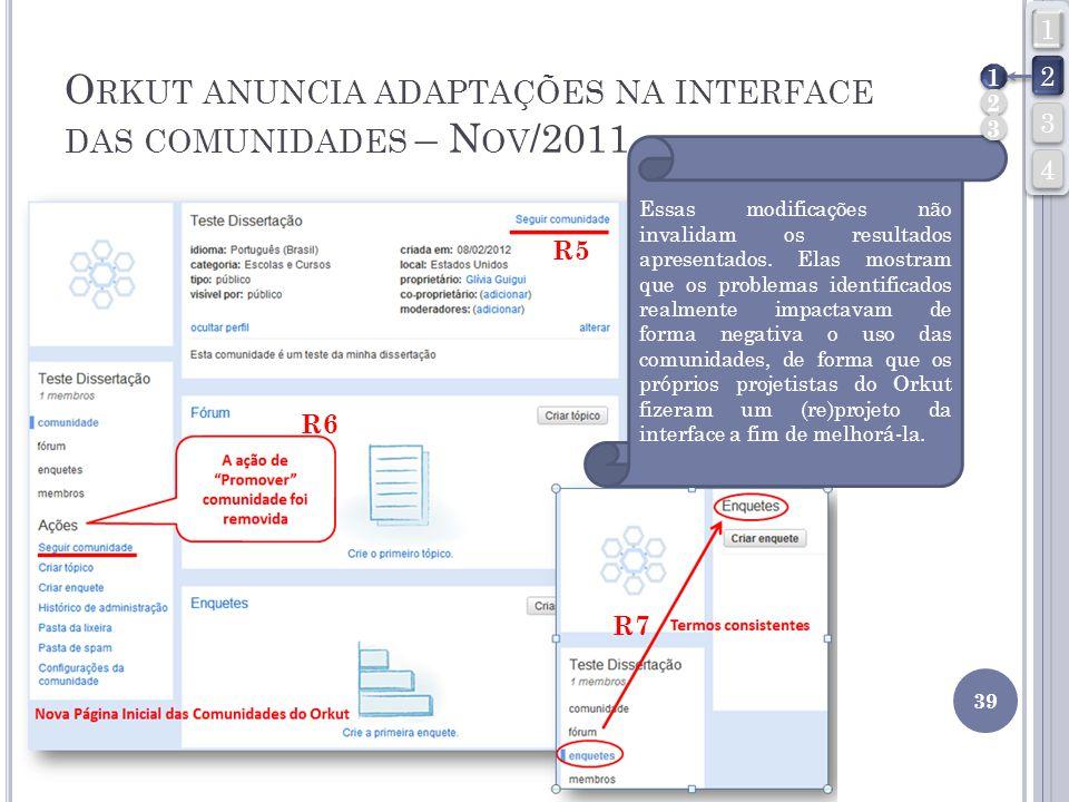 O RKUT ANUNCIA ADAPTAÇÕES NA INTERFACE DAS COMUNIDADES – N OV /2011 39 R5 R6 R7 Essas modificações não invalidam os resultados apresentados. Elas most