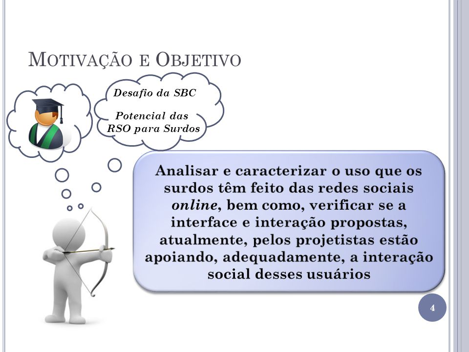 M OTIVAÇÃO E O BJETIVO 4 Desafio da SBC Potencial das RSO para Surdos