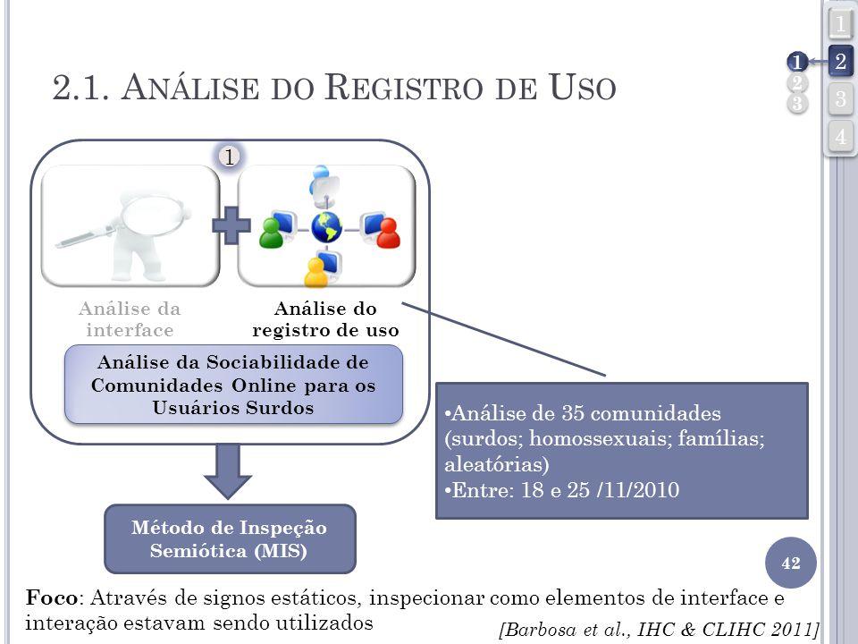 2.1. A NÁLISE DO R EGISTRO DE U SO 42 Análise da interface Análise do registro de uso Análise da Sociabilidade de Comunidades Online para os Usuários