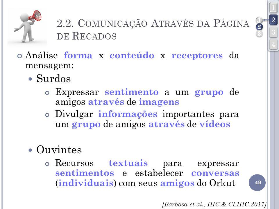 49 Análise forma x conteúdo x receptores da mensagem: Surdos Expressar sentimento a um grupo de amigos através de imagens Divulgar informações importa