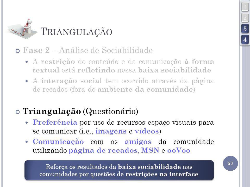 T RIANGULAÇÃO Fase 2 – Análise de Sociabilidade A restrição do conteúdo e da comunicação à forma textual está refletindo nessa baixa sociabilidade A i