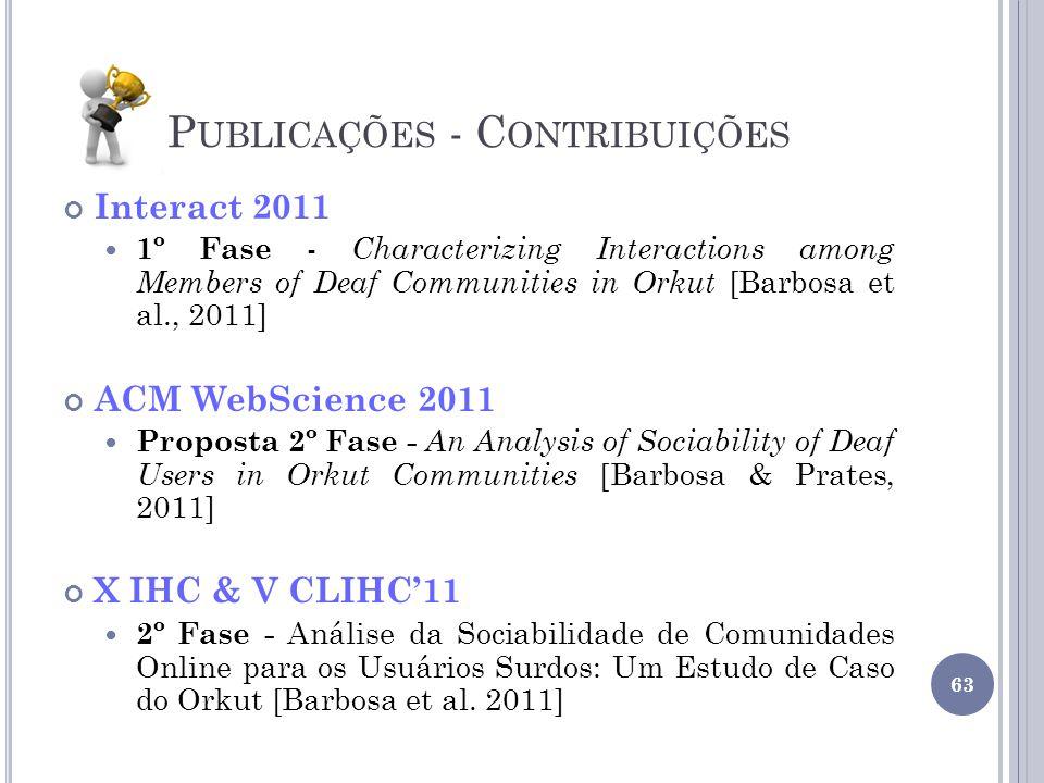 P UBLICAÇÕES - C ONTRIBUIÇÕES Interact 2011 1º Fase - Characterizing Interactions among Members of Deaf Communities in Orkut [Barbosa et al., 2011] AC
