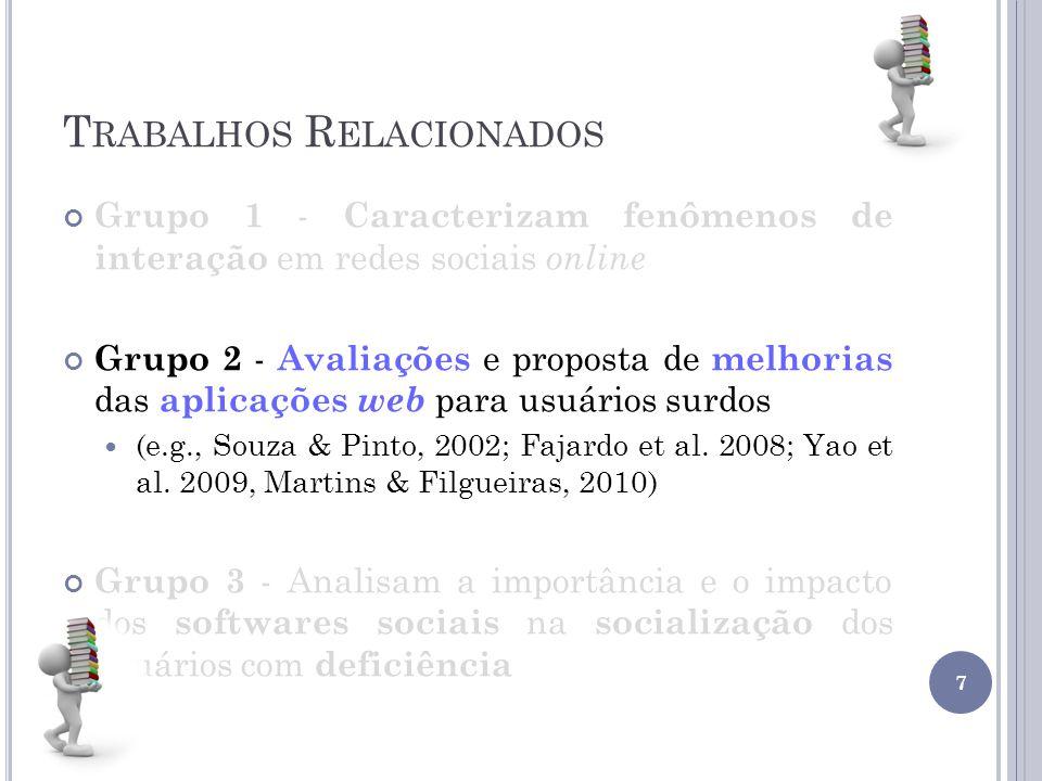 T RABALHOS R ELACIONADOS Grupo 1 - Caracterizam fenômenos de interação em redes sociais online Grupo 2 - Avaliações e proposta de melhorias das aplica