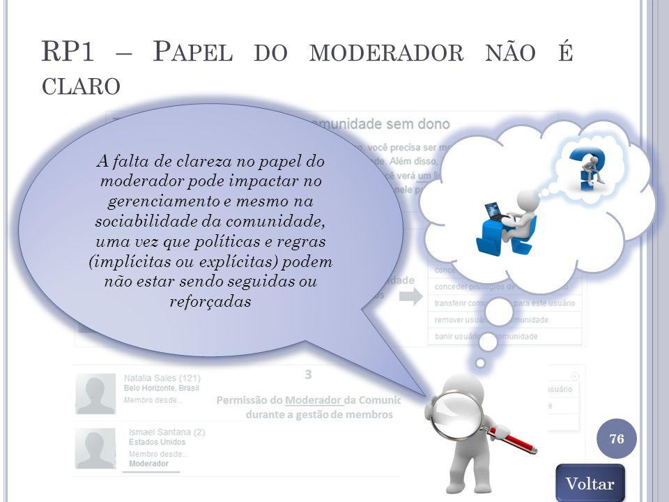 RP1 – P APEL DO MODERADOR NÃO É CLARO 76 A falta de clareza no papel do moderador pode impactar no gerenciamento e mesmo na sociabilidade da comunidad