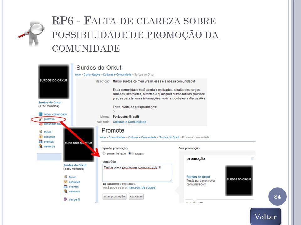 RP6 - F ALTA DE CLAREZA SOBRE POSSIBILIDADE DE PROMOÇÃO DA COMUNIDADE 84 Voltar
