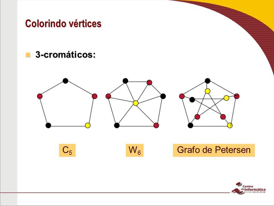 Colorindo vértices 3-cromáticos: 3-cromáticos: C5C5 W6W6 Grafo de Petersen