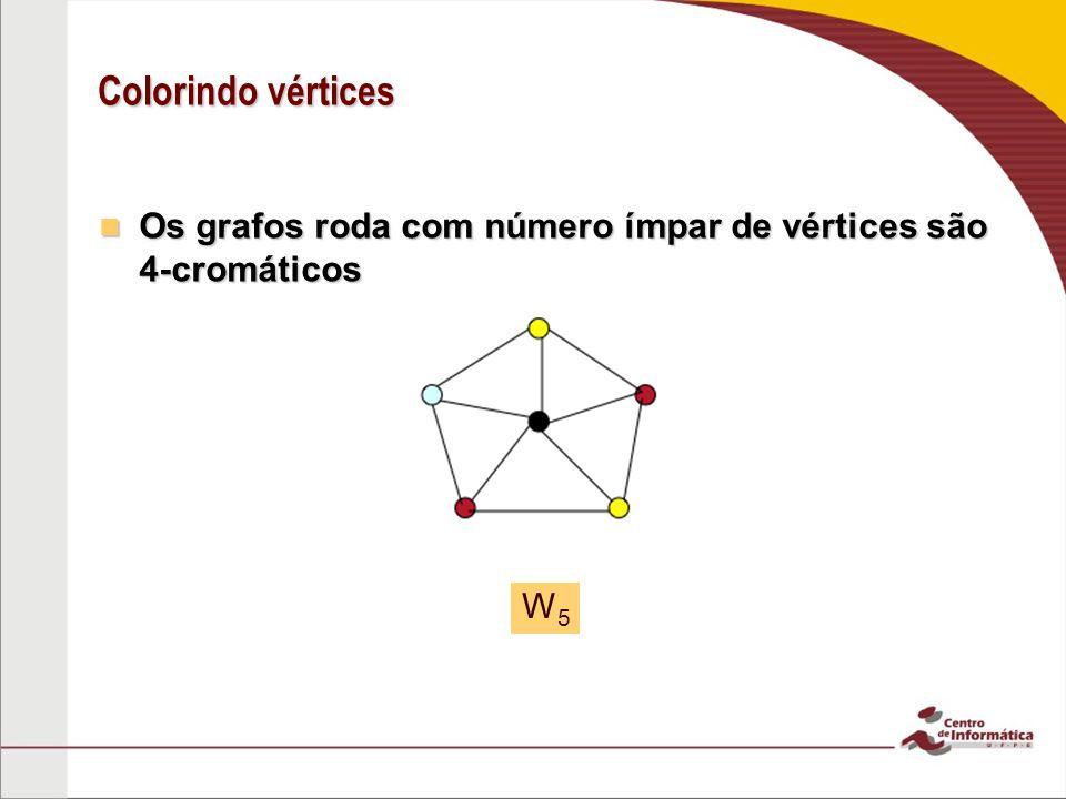 Colorindo vértices Os grafos roda com número ímpar de vértices são 4-cromáticos Os grafos roda com número ímpar de vértices são 4-cromáticos W5W5
