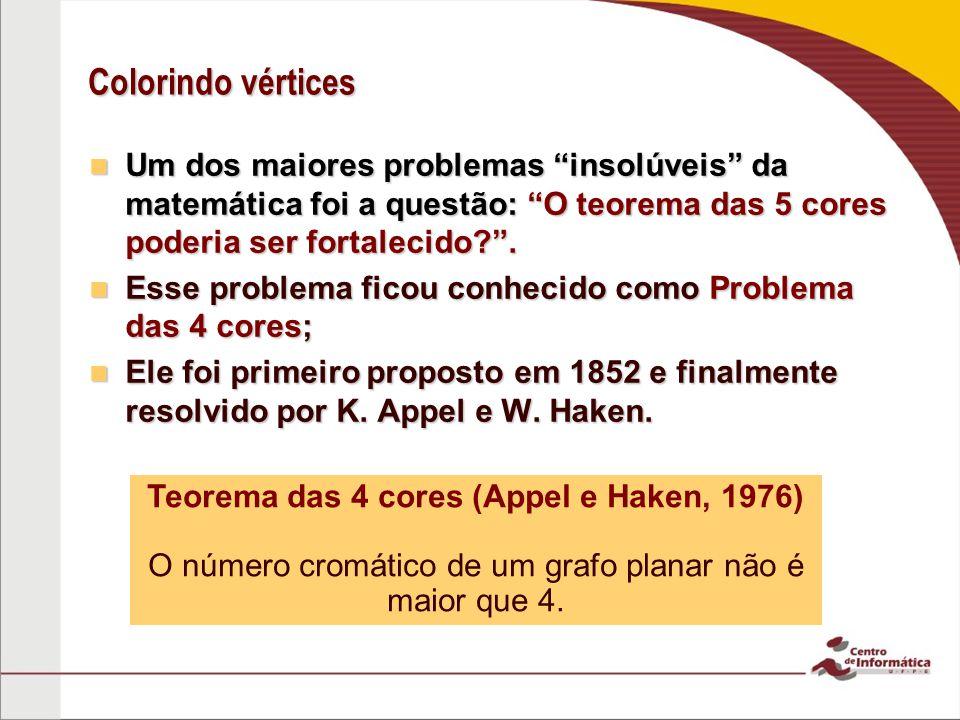Colorindo vértices Um dos maiores problemas insolúveis da matemática foi a questão: O teorema das 5 cores poderia ser fortalecido?. Um dos maiores pro