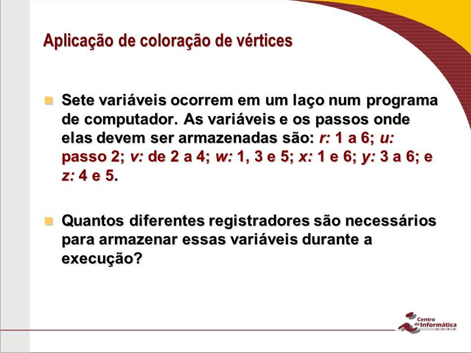 Aplicação de coloração de vértices Sete variáveis ocorrem em um laço num programa de computador. As variáveis e os passos onde elas devem ser armazena