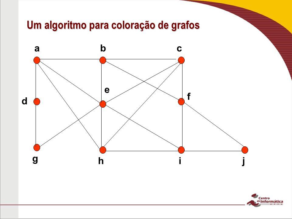 cab h g ji e d f Um algoritmo para coloração de grafos