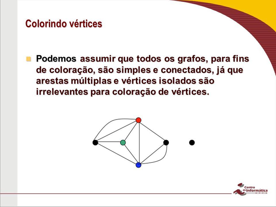 Colorindo vértices Podemos assumir que todos os grafos, para fins de coloração, são simples e conectados, já que arestas múltiplas e vértices isolados são irrelevantes para coloração de vértices.