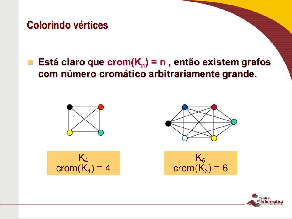 Colorindo vértices Está claro que crom(K n ) = n, então existem grafos com número cromático arbitrariamente grande. Está claro que crom(K n ) = n, ent