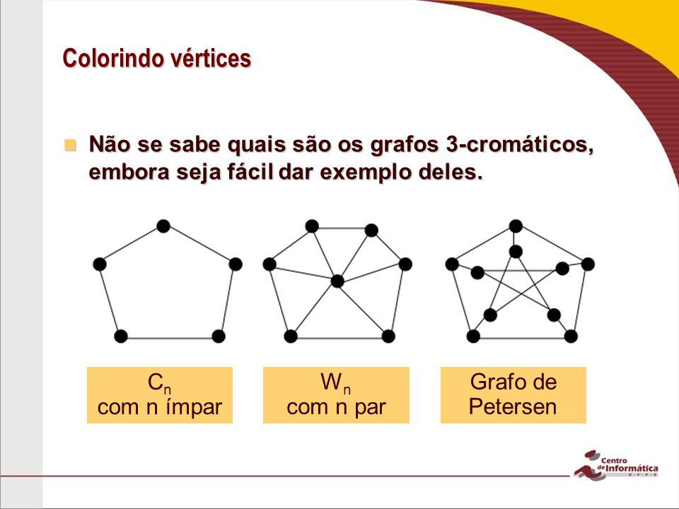Colorindo vértices Não se sabe quais são os grafos 3-cromáticos, embora seja fácil dar exemplo deles. Não se sabe quais são os grafos 3-cromáticos, em