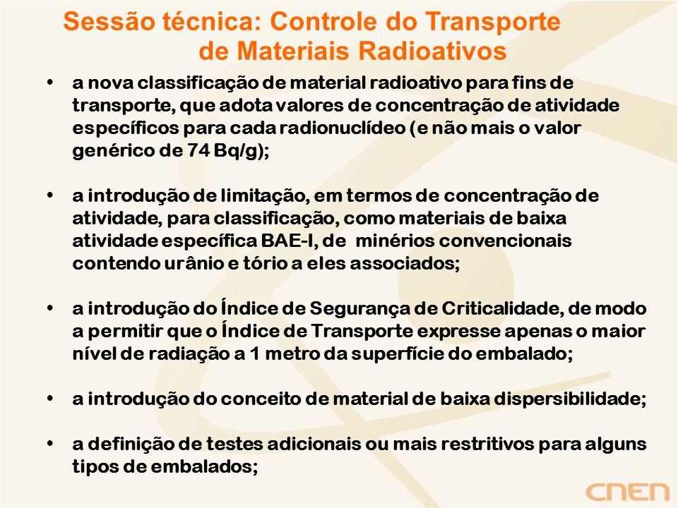 a limitação da atividade total em embalados Tipo B a criação de embalagem Tipo C para o transporte de plutônio, produtos de fissão e grandes quantidades de materiais radioativos, de modo a resistir queda de avião; a definição e especificação de embalados Tipo H para o transporte de hexafluoreto de urânio; a alteração de alguns valores de A 1 e A 2 ; a alteração de valores para a contaminação externa de embalados; a necessidade de sinalização externa (na superfície) de embalagens contendo material exceptivo (número da ONU 2910) Sessão técnica: Controle do Transporte de Materiais Radioativos