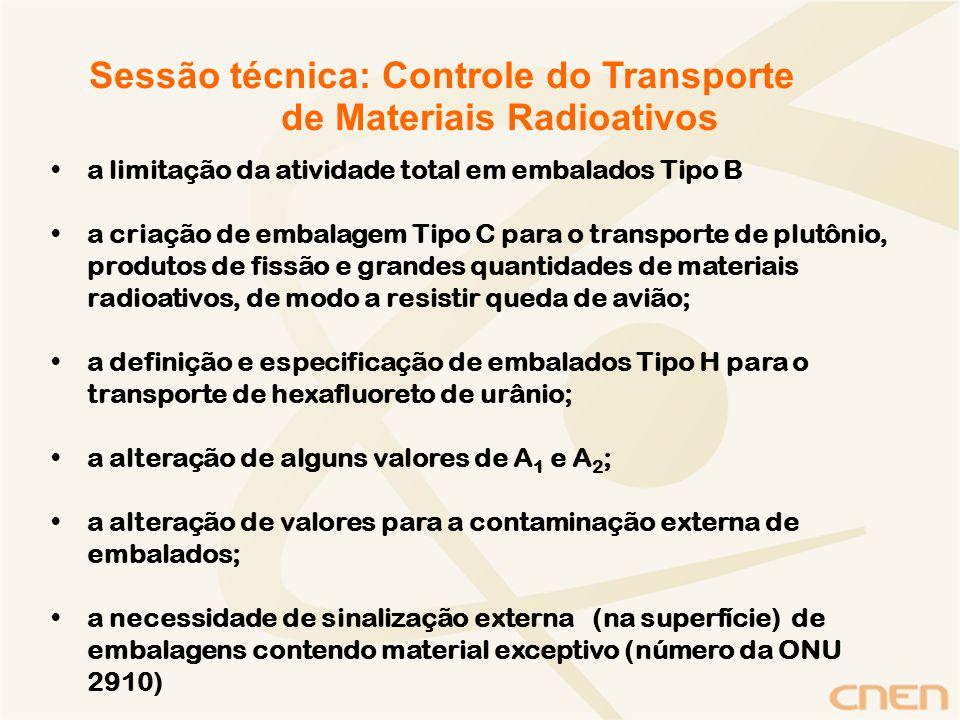 Conclusão Foram abordados os principais tópicos relacionados às mudanças na legislação de transporte de materiais radioativos no Brasil, em consonância com o Regulamento da Agência Internacional de Energia Atômica ST-R-1 (2005).
