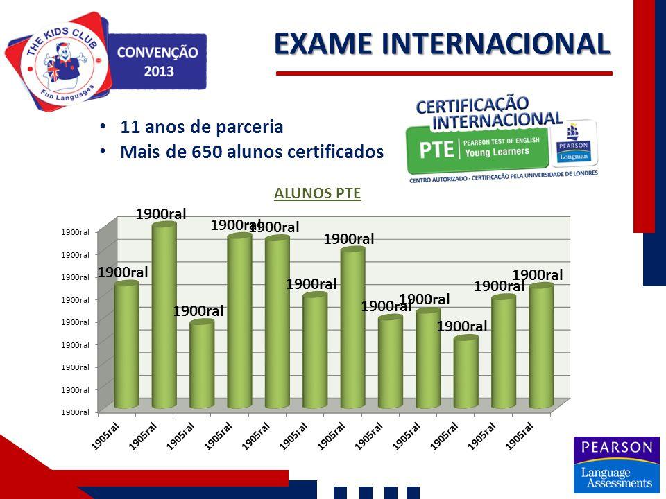 EXAME INTERNACIONAL 11 anos de parceria Mais de 650 alunos certificados