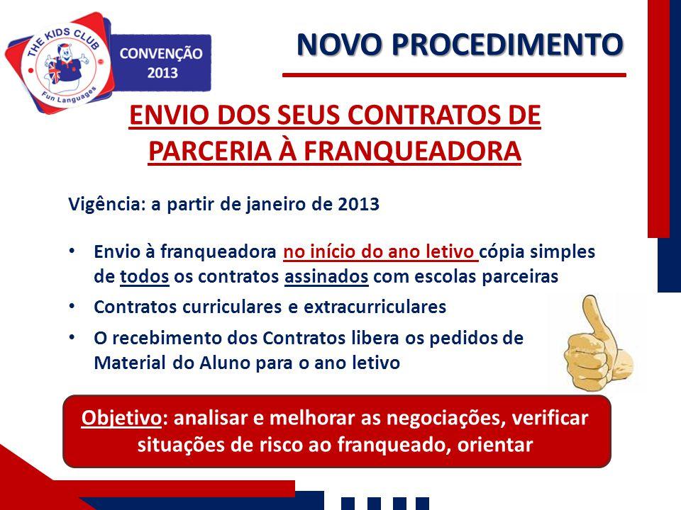NOVO PROCEDIMENTO Nossos Números ENVIO DOS SEUS CONTRATOS DE PARCERIA À FRANQUEADORA Vigência: a partir de janeiro de 2013 Envio à franqueadora no iní