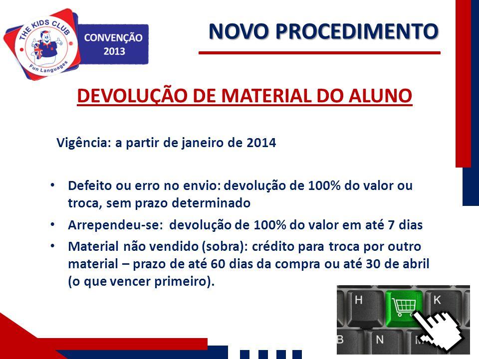 NOVO PROCEDIMENTO Nossos Números DEVOLUÇÃO DE MATERIAL DO ALUNO Vigência: a partir de janeiro de 2014 Defeito ou erro no envio: devolução de 100% do v