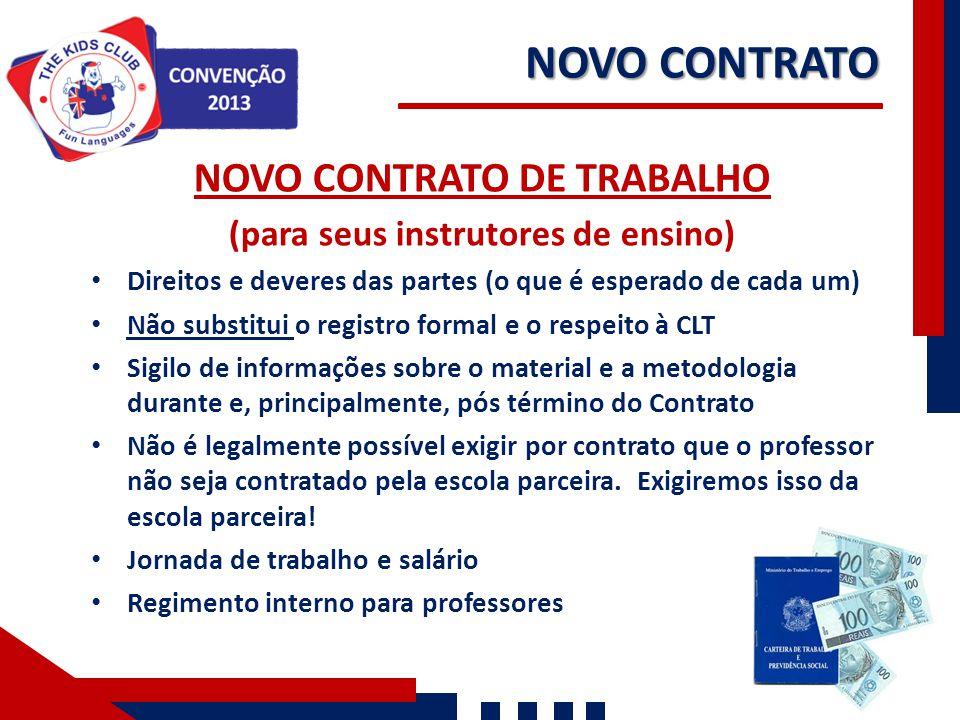 NOVO CONTRATO DE TRABALHO (para seus instrutores de ensino) Direitos e deveres das partes (o que é esperado de cada um) Não substitui o registro forma
