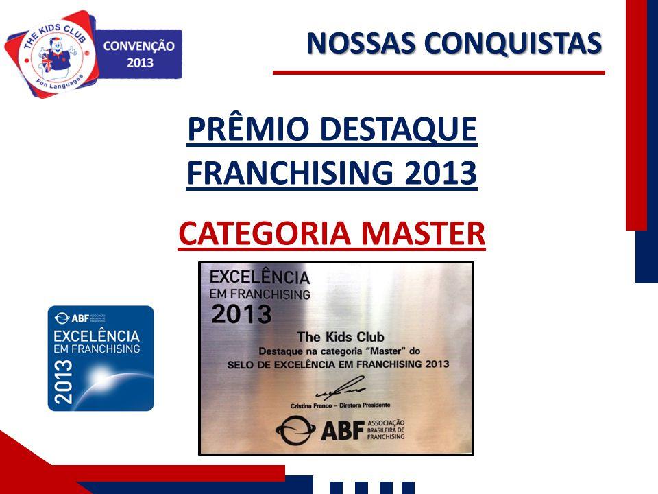 PRÊMIO DESTAQUE FRANCHISING 2013 CATEGORIA MASTER NOSSAS CONQUISTAS