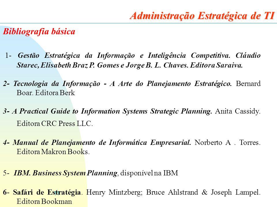11 Bibliografia básica 1- Gestão Estratégica da Informação e Inteligência Competitiva. Cláudio Starec, Elisabeth Braz P. Gomes e Jorge B. L. Chaves. E