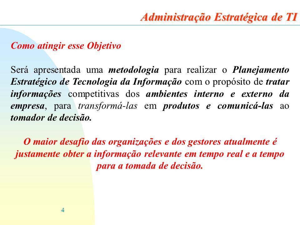 4 Como atingir esse Objetivo Será apresentada uma metodologia para realizar o Planejamento Estratégico de Tecnologia da Informação com o propósito de
