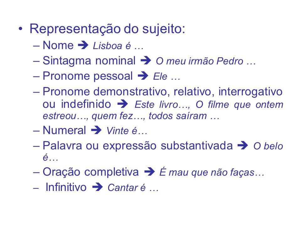 Representação do sujeito: –Nome Lisboa é … –Sintagma nominal O meu irmão Pedro … –Pronome pessoal Ele … –Pronome demonstrativo, relativo, interrogativ