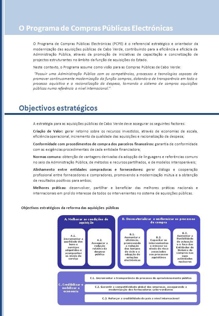 O Programa de Compras Públicas Electrónicas O Programa de Compras Públicas Electrónicas (PCPE) é o referencial estratégico e orientador da modernização das aquisições públicas de Cabo Verde, contribuindo para a eficiência e eficácia da Administração Pública, através da promoção de iniciativas de capacitação e concretização de projectos estruturantes no âmbito da função de aquisições do Estado.