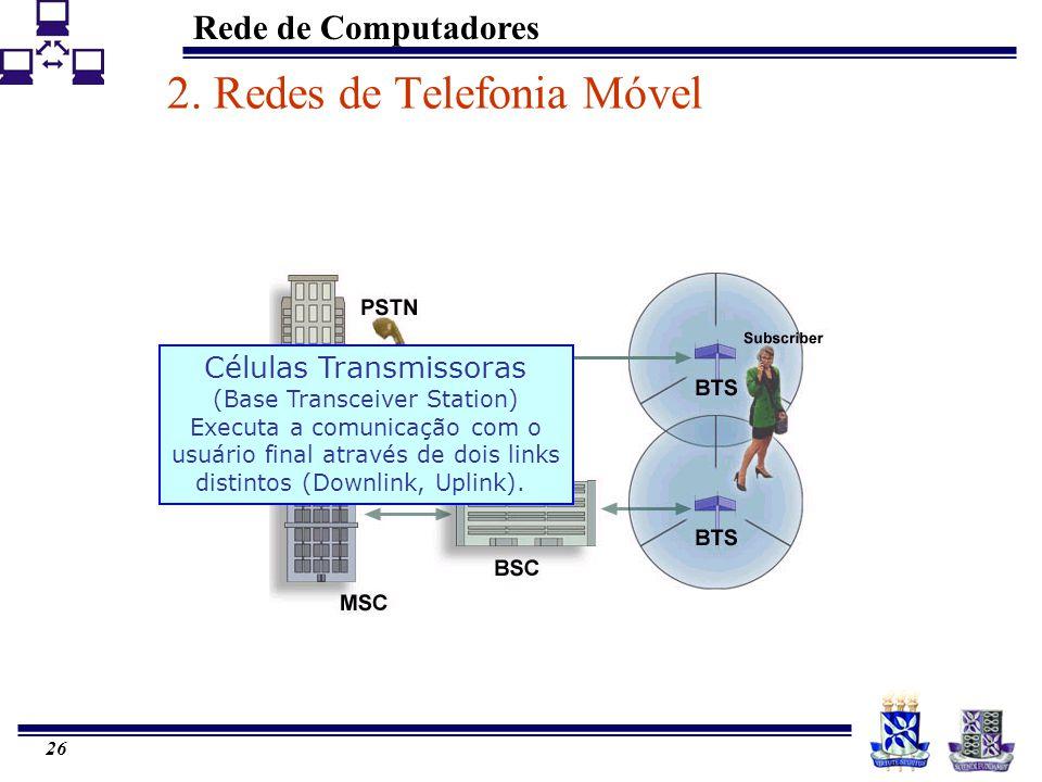 Rede de Computadores 26 2. Redes de Telefonia Móvel Células Transmissoras (Base Transceiver Station) Executa a comunicação com o usuário final através