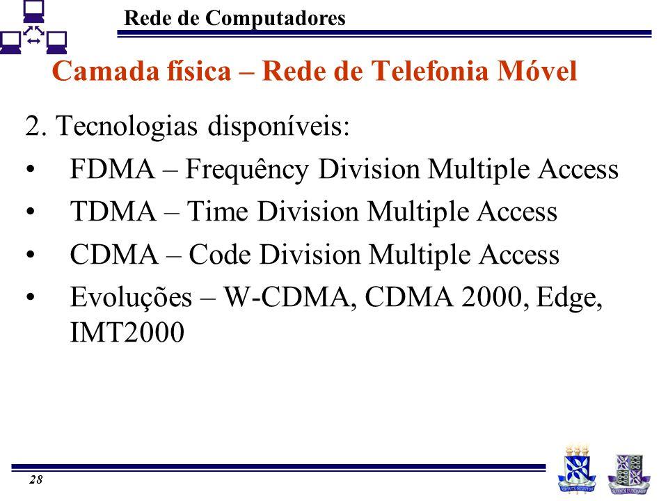 Rede de Computadores 28 Camada física – Rede de Telefonia Móvel 2. Tecnologias disponíveis: FDMA – Frequêncy Division Multiple Access TDMA – Time Divi