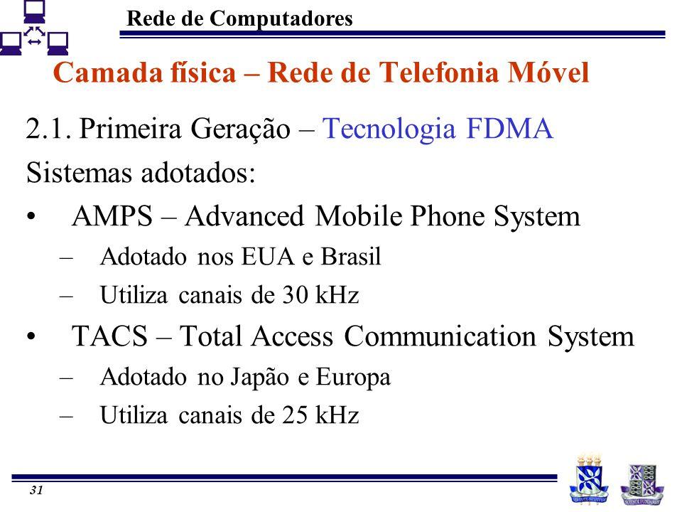 Rede de Computadores 31 Camada física – Rede de Telefonia Móvel 2.1. Primeira Geração – Tecnologia FDMA Sistemas adotados: AMPS – Advanced Mobile Phon