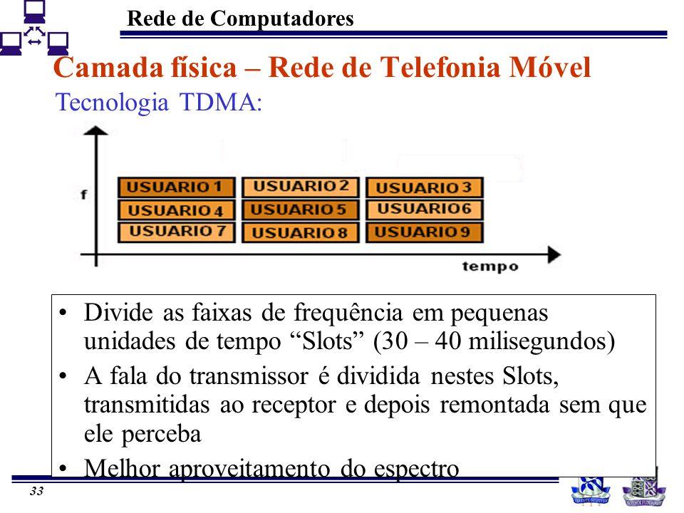 Rede de Computadores 33 Divide as faixas de frequência em pequenas unidades de tempo Slots (30 – 40 milisegundos) A fala do transmissor é dividida nes