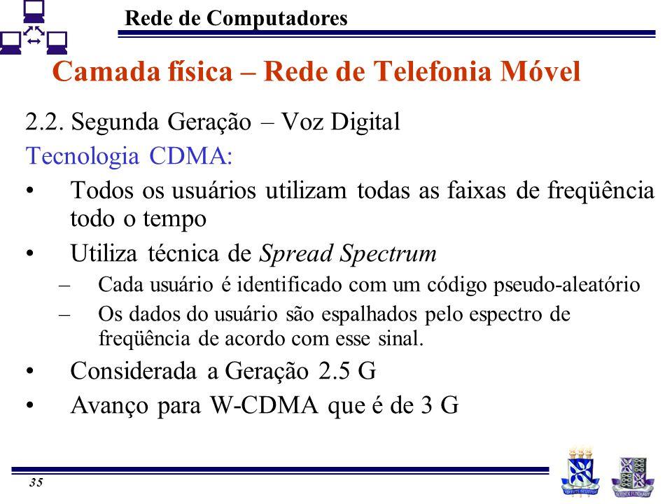 Rede de Computadores 35 Camada física – Rede de Telefonia Móvel 2.2. Segunda Geração – Voz Digital Tecnologia CDMA: Todos os usuários utilizam todas a