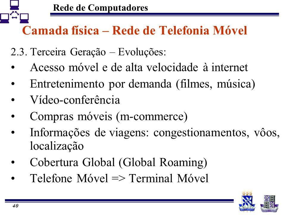 Rede de Computadores 40 Camada física – Rede de Telefonia Móvel 2.3. Terceira Geração – Evoluções: Acesso móvel e de alta velocidade à internet Entret