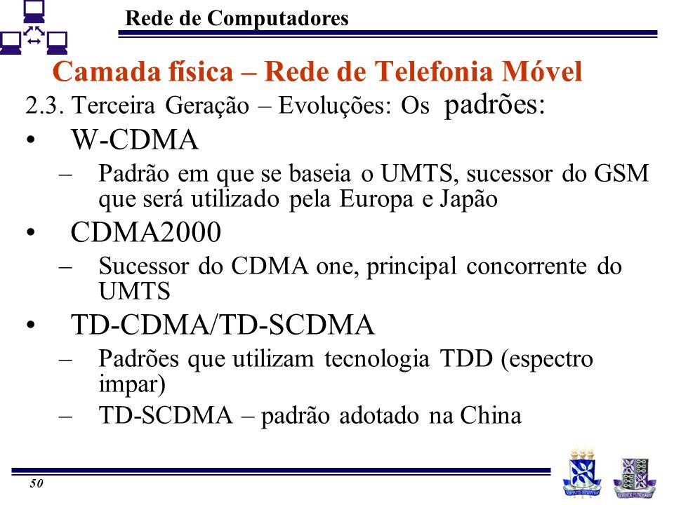 Rede de Computadores 50 Camada física – Rede de Telefonia Móvel 2.3. Terceira Geração – Evoluções: Os padrões: W-CDMA –Padrão em que se baseia o UMTS,