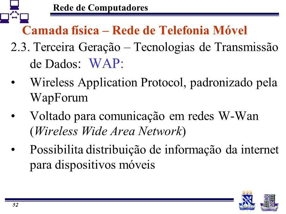 Rede de Computadores 52 Camada física – Rede de Telefonia Móvel 2.3. Terceira Geração – Tecnologias de Transmissão de Dados : WAP: Wireless Applicatio