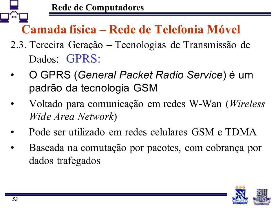 Rede de Computadores 53 Camada física – Rede de Telefonia Móvel 2.3. Terceira Geração – Tecnologias de Transmissão de Dados : GPRS: O GPRS (General Pa