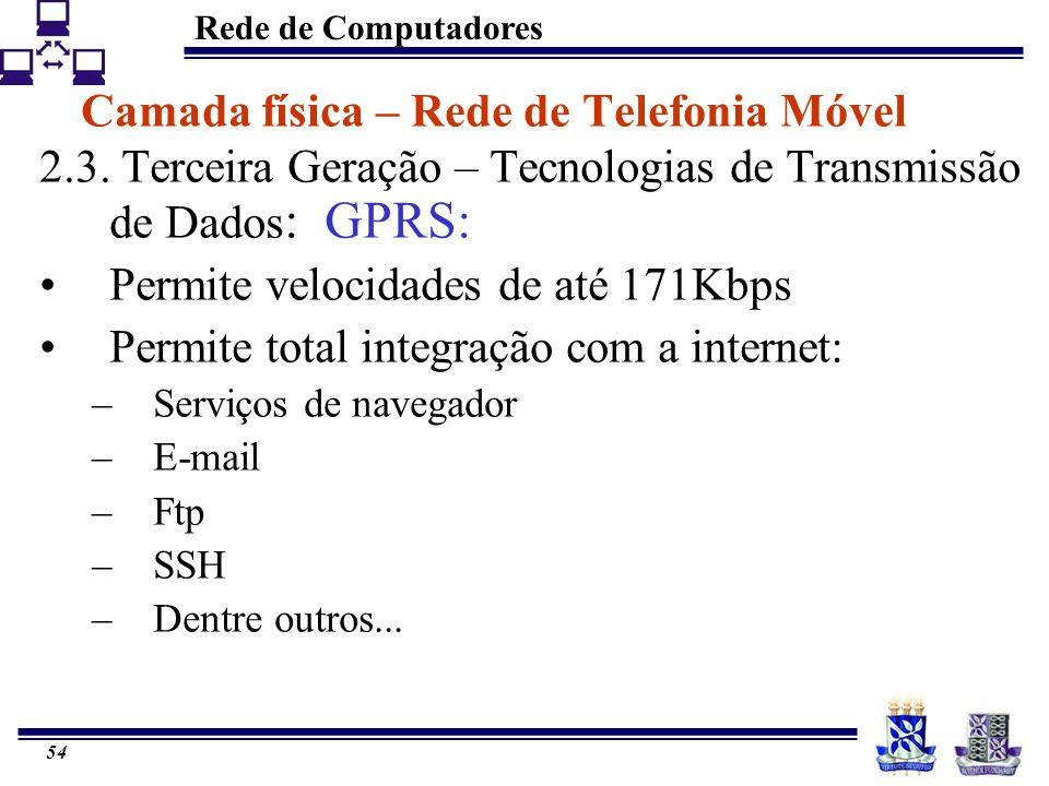 Rede de Computadores 54 Camada física – Rede de Telefonia Móvel 2.3. Terceira Geração – Tecnologias de Transmissão de Dados : GPRS: Permite velocidade