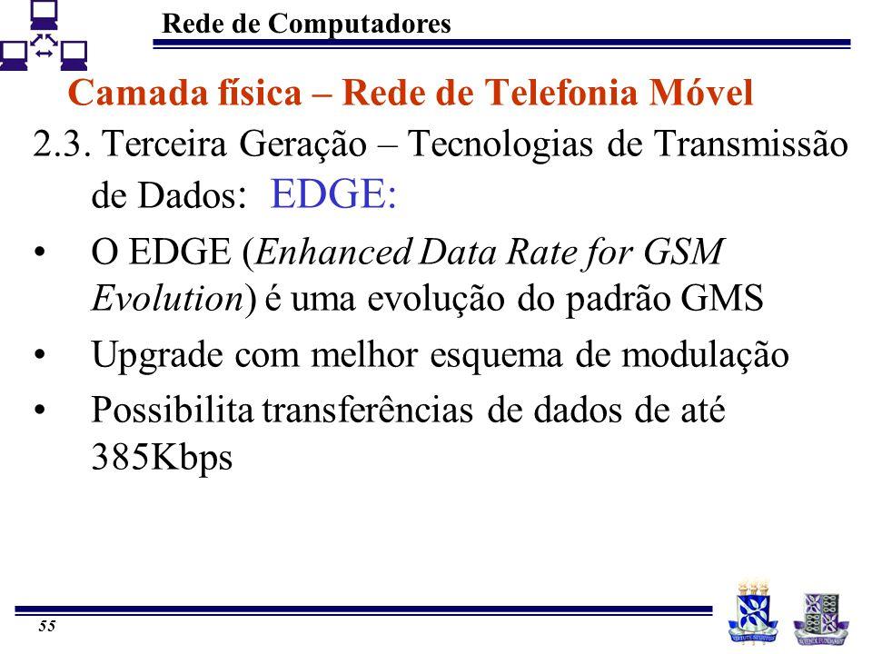 Rede de Computadores 55 Camada física – Rede de Telefonia Móvel 2.3. Terceira Geração – Tecnologias de Transmissão de Dados : EDGE: O EDGE (Enhanced D
