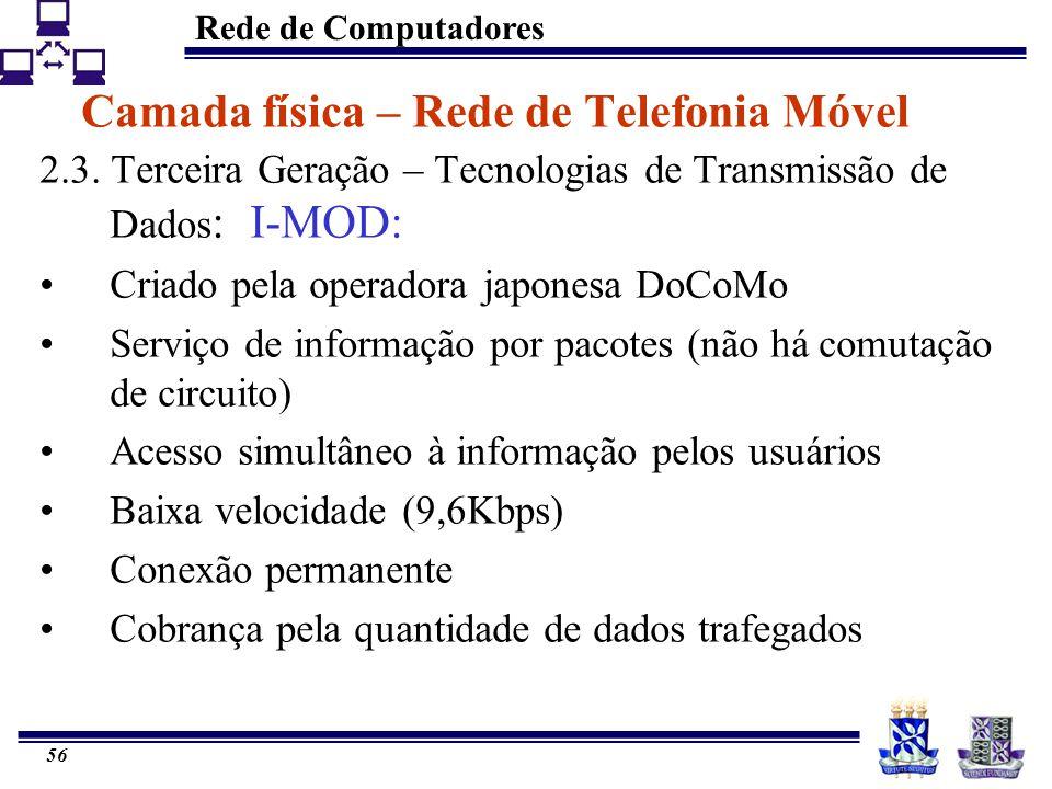 Rede de Computadores 56 Camada física – Rede de Telefonia Móvel 2.3. Terceira Geração – Tecnologias de Transmissão de Dados : I-MOD: Criado pela opera
