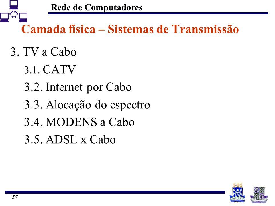 Rede de Computadores 57 Camada física – Sistemas de Transmissão 3. TV a Cabo 3.1. CATV 3.2. Internet por Cabo 3.3. Alocação do espectro 3.4. MODENS a