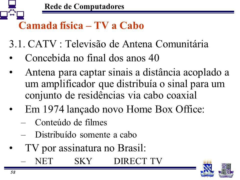 Rede de Computadores 58 Camada física – TV a Cabo 3.1. CATV : Televisão de Antena Comunitária Concebida no final dos anos 40 Antena para captar sinais