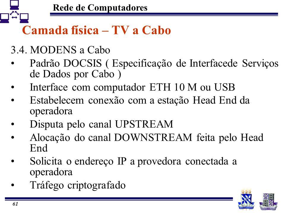 Rede de Computadores 61 Camada física – TV a Cabo 3.4. MODENS a Cabo Padrão DOCSIS ( Especificação de Interfacede Serviços de Dados por Cabo ) Interfa